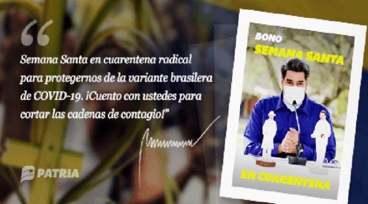 Bono Semana Santa en Cuarentena del 25 al 31 de marzo