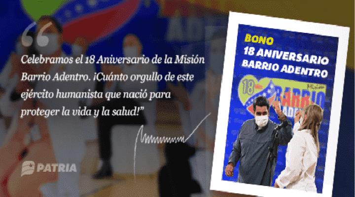 Inicia entrega de Bono 18 aniversario de Barrio Adentro