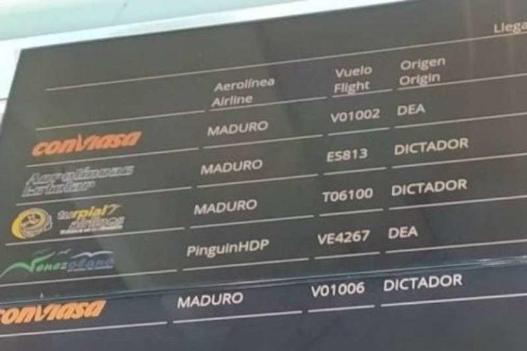 """Reportan hackeo en pantallas del aeropuerto de Maiquetía y Porlamar: """"Maduro, d1ct4d0r"""" (+Detalles)"""